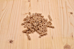 Wholemeal pasta fusilli from organic whole grain spelt on a rust Royalty Free Stock Image