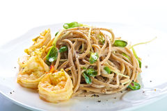 Wholemeal pasta with Shrimps Stock Photo