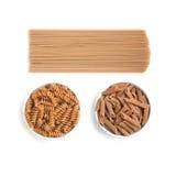 Wholemeal Pasta. Spaghetti, Penne and Fusilli Stock Photography