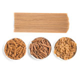 Wholemeal Pasta. Spaghetti, Penne and Fusilli Royalty Free Stock Photos