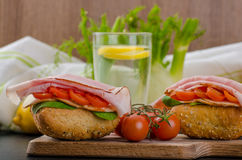 Wholemeal roll with prague ham Royalty Free Stock Photography