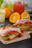 Wholemeal roll with prague ham Stock Photos