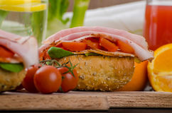 Wholemeal roll with prague ham Stock Photo