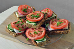 Wholemeal rye bread sandwich Royalty Free Stock Photo