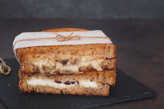 Wholemeal sandwiches with goats cheese, cranberries and mushrooms. Macro, selective focus, blank space royalty free stock image