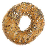 Wholemeal Seeded Bagel. Isolated on white Stock Images