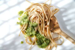 Wholemeal Spaghetti With Basil Pesto And Pine Nuts Royalty Free Stock Photography