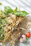 Wholemeal Spaghetti With Basil Pesto And Pine Nuts Royalty Free Stock Photo