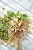 Wholemeal Spaghetti With Basil Pesto And Pine Nuts Royalty Free Stock Images
