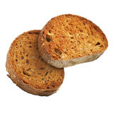 Wholemeal Toast. Two slices of wholemeal toast, no butter, isolated on white, clipping path included Royalty Free Stock Photography