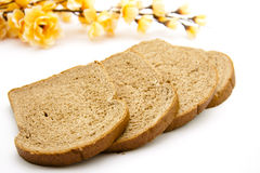 Wholemeal toast bread and blossom Royalty Free Stock Image