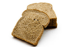 Wholemeal toast bread. On white background Royalty Free Stock Photo