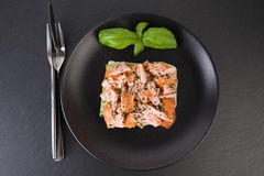 Wholemeal toast with salmon Stock Photo