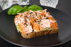 Wholemeal toast with salmon Royalty Free Stock Photography
