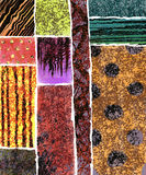 Wholes. A grid of squares containing vivid colors, textures and patterns in a modern art illustration Stock Photo