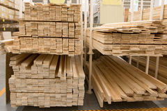 Wholesale store building materials from wood Royalty Free Stock Image