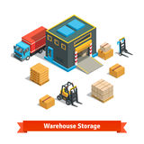 Wholesale warehouse storage building with forklift stock illustration