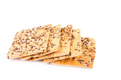Wholesome biscuits with cereal isolated on white. Royalty Free Stock Image