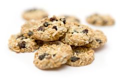 Wholesome Cookies. Bunch of cookies isolated on a white background, Shallow depth of field Stock Photography
