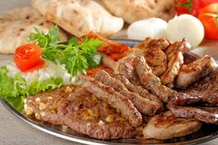 Wholesome platter of mixed meats Royalty Free Stock Photography