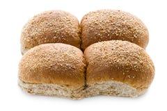 Wholewheat ρόλοι ψωμιού στο λευκό Στοκ Φωτογραφία