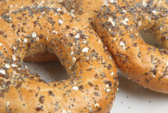 Wholewheat Bagels. Fresh wholewheat seeded bagels close-up Stock Photo