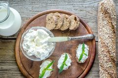 Wholewheat bread with cream cheese Stock Photography
