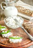 Wholewheat bread with cream cheese Royalty Free Stock Images