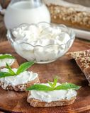 Wholewheat bread with cream cheese Stock Photo