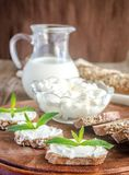 Wholewheat bread with cream cheese Royalty Free Stock Image