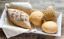 Wholewheat bread with sesame and flax-seed buns Royalty Free Stock Photography
