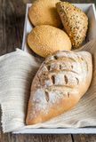Wholewheat bread with sesame and flax-seed buns Stock Image