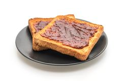 wholewheat bread toast with chili paste royalty free stock images