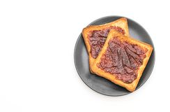 Wholewheat bread toast with chili paste. Isolated on white background Royalty Free Stock Image