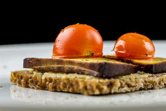 Wholewheat bread with tofu and tomato Royalty Free Stock Photo