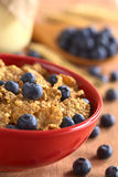 Wholewheat Cereal with Blueberries. Wholewheat flakes with fresh blueberries with a glass of yogurt and blueberries in the back (Selective Focus, Focus on the Royalty Free Stock Image