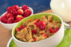 Wholewheat Cereal with Fresh Strawberries. In bowl with strawberries and milk in the back (Selective Focus, Focus on the strawberry in the middle Stock Images