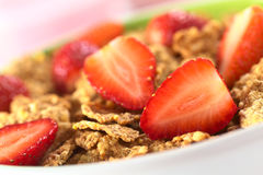 Wholewheat Cereal with Strawberries Royalty Free Stock Image