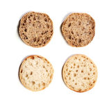 Wholewheat and regular bread rolls, top view Stock Image