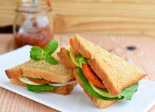 Wholewheat vegeterian sandwiches Stock Image