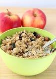 Wholewheat vlokken met melk en appelen Stock Afbeelding