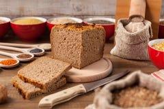 Wholgrain bread and multi grain diet concept stock image