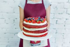 Whoopie饼称呼了蛋糕用新鲜水果,妇女` s手 祝贺 免版税库存照片