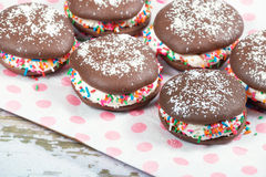 Whoopie pie chocolate cakes Stock Image