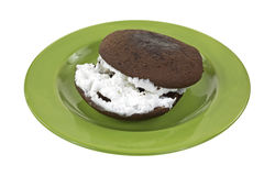 Whoopie pie on plate Royalty Free Stock Images