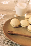 Whoopie pies. With a glass of milk for a delicious break Stock Photos