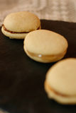 Whoopie pies. With a glass of milk for a delicious break Stock Photo