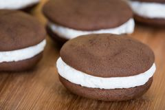 Whoopie pies, chocolate cake desserts royalty free stock photos