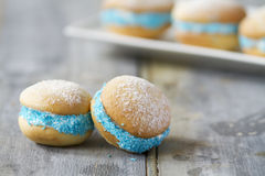 Whoopie pies on rustic background. Horizontal Royalty Free Stock Photo