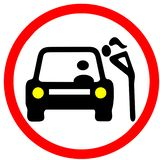 A with car in bargaining. Prostitution illustration red circular road sign Stock Photo